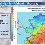 Fairbanks set a record high on Thursday. This was also the first high in the 50s since September 27th. #akwx http://t.co/Izf1cU3Udt