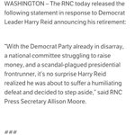HAHAHAHAHA MT @nielslesniewski: RNC statement regarding @SenatorReids retirement says he was going to be humiliated: http://t.co/JD3m8Nl68i
