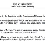 """Harry Reid is a fighter."" —President Obama on the retirement of @SenatorReid http://t.co/nmLIDl8hco"