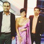 With @virendersehwag and #chetansharma at the @indiatvnews studio.. @mandiradesigns http://t.co/3eeFlOz87O