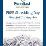 Mark your Calendars! Free Shredding Day is coming soon on April 17th! Bring your papers to our #Scranton Office. http://t.co/nM72LxCNLF