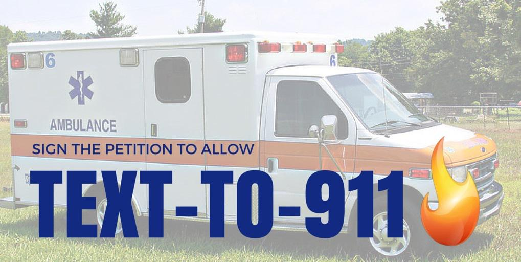 Sign petition to require local 911s to accept texts in an emergency! Click to sign:  http://t.co/vkJmyh6ZX3 #SMS http://t.co/B3wYyOCrAk