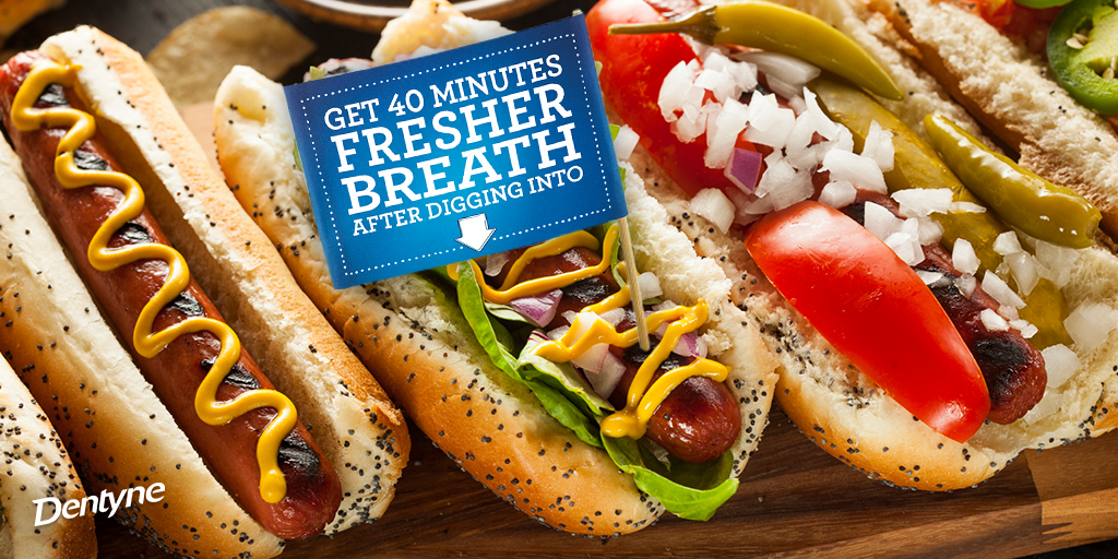 Friends, loaded hot dogs and Dentyne. Spring can't get any fresher than this. #FollowFood http://t.co/ijXafdvh5d