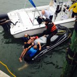 Crews rescue swimmer found clinging to piling of St. Pete Pier Friday. Photo from St. Pete Fire Rescue. @TB_Times http://t.co/TjTqhXwzf9