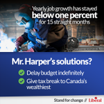Canada's job market is stalled. But still Stephen Harper stays stuck in his ways. #Cdnpoli http://t.co/0Srm7tQohb