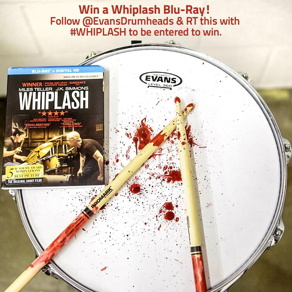 Win Whiplash on Blu-Ray! Follow @Evansdrumheads & retweet w/ #WHIPLASH to be entered to win. #drumfam http://t.co/hJORmyr6Ej