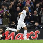 One cap, one goal. Harry Kane celebrates his debut goal for England. #ENG http://t.co/3o4dABf12s