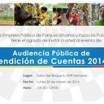 Empresa Pública de Parques Urbanos y Espacios Públicos invita a la ciudadanía en general a #RendicionCuentas2014 http://t.co/yP4VOqSgiW