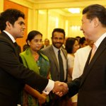 President Sirisenas son Daham Sirisena meeting Chinese President during his fathers 3 day visit to China #lka http://t.co/rvt4wyk1Or