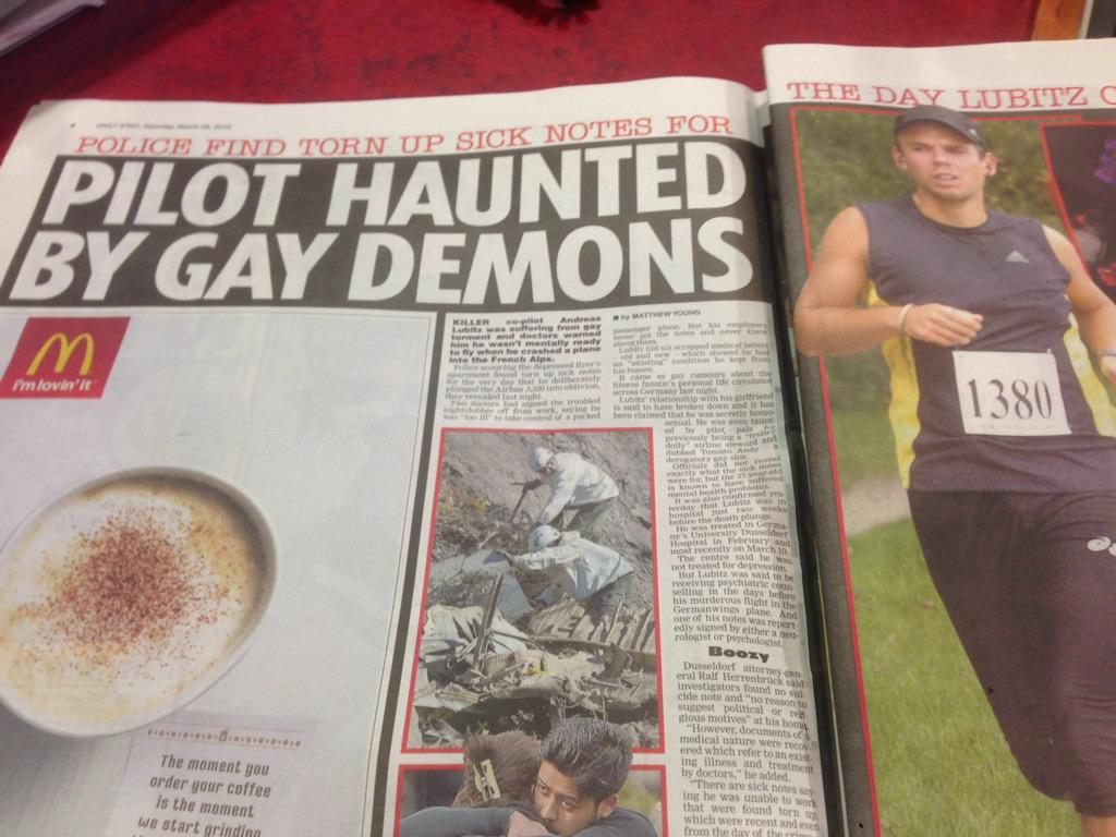 Beware of the gay demons. Apparently they make you crash planes