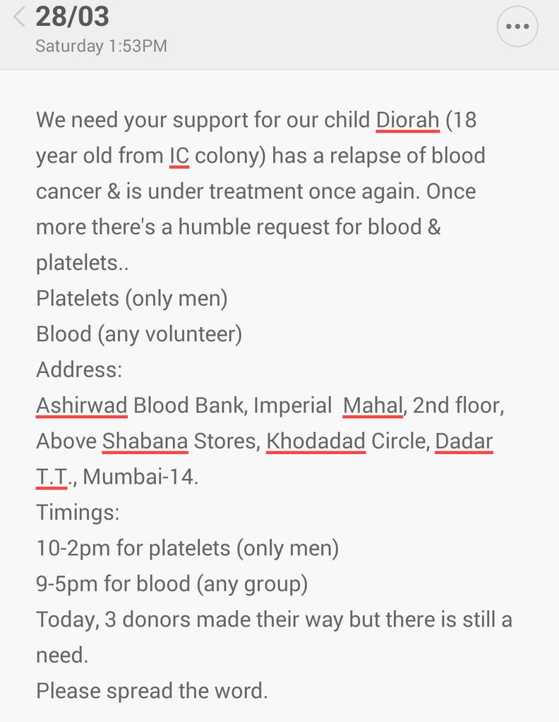 #Urgent request for platelets/blood for a cousin's friend. Details attached. Please help/RT. #Mumbai #BloodDonation http://t.co/qG8SHdyrG6