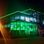 Led verlichting #faxx2.0 is af. Staat van 20-23 uur aan als groene eyecatcher. Gaaf! #duurzaam #vmk http://t.co/lDc8tgHUNl