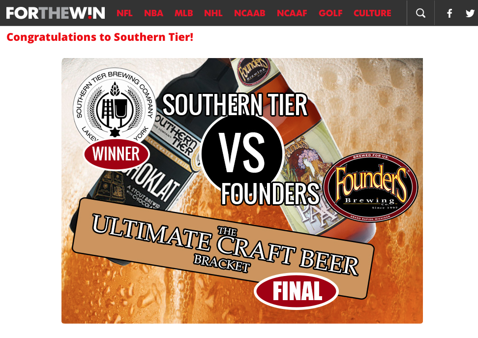 Congrats to YOU! Thanks @ForTheWin for including us & big cheers to @foundersbrewing  #craftbeer #craftbrewers http://t.co/larCvgc5f9