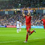 Wales Aaron #Ramsey celebrates scoring the first goal against Israel #ISRVWAL #TogetherStronger http://t.co/wscFGde5rj