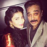 #ShrutiHaasan with her father #KamalHaasan at #Uttamavillain audio launch  in #Hyderabad http://t.co/xNCMnkqfNb