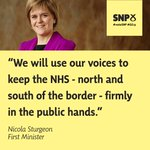 NS: We will use our voices & our votes to keep the #NHS - north & south of border - firmly in public hands #SNPConf http://t.co/C9jNKPHOOa