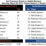 Today's lineups. For #Mariners, it looks like opening day except for Willie Bloomquist subbing at SS for Brad Miller. http://t.co/VgVDxWv6Qy