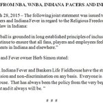 Joint Statement from NBA, @WNBA, @Pacers and @IndianaFever