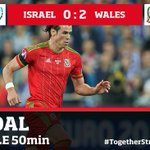 GOAL!! Bale scores with a free kick on the edge of the box!! ISRAEL 0-2 WALES #TogetherStronger #ISRvWAL http://t.co/u0Y4LpOc0Y