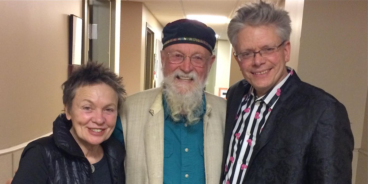 Backstage last night with Terry Riley and Laurie Anderson. #BigEarsKnox http://t.co/bPnWiiBQWm