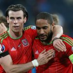 PHOTO: Ashley Williams and @GarethBale11 celebrate @FAWales stunning 3-0 win over Israel in Haifa. #swans http://t.co/J0ANzseJ32