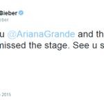 """""""Obrigado @ArianaGrande e obrigado Miami. Senti falta do palco. Vejo vocês em breve ;)"""" - @justinbieber. http://t.co/MbJkVZnpYS"""
