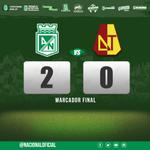 Termina el partido en el Atanasio Girardot. #AtléticoNacional 2 – 0 Deportes Tolima.  #MiNacionalenvivo http://t.co/LMr5vPDRXl