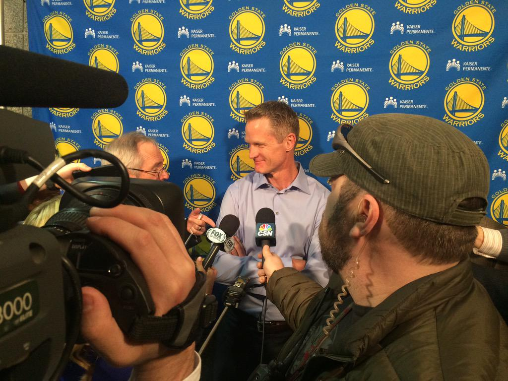 """Coach Kerr: Sorry I was late. I was busy """"bearing down"""" in the locker room. http://t.co/TRgUCWL0cT"""