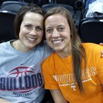 All in the #ncaaW family. Jami Schaefer (Bjorklund) and Angie Bjorkland are in Spokane watching their alma maters! http://t.co/cp1TRrCa9P