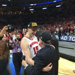 Sam Dekker and Coach Ryan share a moment after the big victory #Badgers http://t.co/M30RRkls45