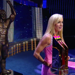 The @UltimateWarriors wife Dana presents the inaugural #WarriorAward at the #WWEHOF Ceremony. #ConnorTheCrusher http://t.co/XKntzO479C