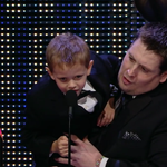 """""""I love you, Connor!"""" - Jackson Michalek, brother of #ConnorTheCrusher. #WWEHOF #WarriorAward http://t.co/epIi5CF2Xt"""