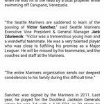 Nota enviada por los Marineros de Seattle sobre el fallecimiento del lanzador derecho Víctor Sánchez. http://t.co/OgN9cuyKzs