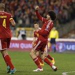 Marouane Fellaini played 69 minutes & scored 2 goals when Belgium beat Cyprus 5 - 0 last night. #InternationalReds http://t.co/4at2dpjY5q