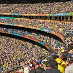 Amazing shot of the record crowd at the @MCG! Will they see the Aussies make history tonight? #GoGold #AUSvNZ http://t.co/uVxMAbdcKB