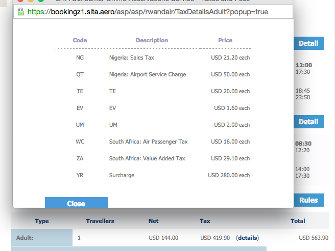 "Problem with air travel in Africa is the ""surcharge"" - Lagos - Joburg costs $144 for the flight. With taxes $562! http://t.co/k8lOBL925I"