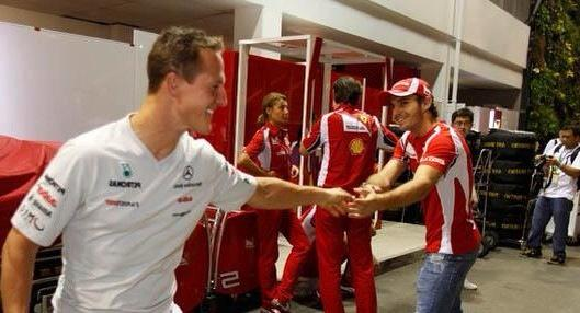 On a great day for @ScuderiaFerrari and @ManorF1Team, two drivers in mind.   #KeepFightingMichael  #ForzaJules http://t.co/I4rjcPcVRi
