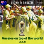 YOU BEAUTY, AUSTRALIA ARE WORLD CHAMPIONS! #GoGold http://t.co/AnGAEEqFQ3 #cwc15 #AUSvNZ http://t.co/62eN9tPgFk