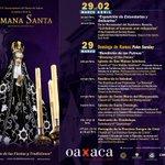 El @GobCdOax te invita a vivir la #SemanaSanta2015 Programa del 29 de marzo al 2 de Abril #Oaxaca #TwitterOax http://t.co/QAv12MquBF