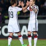 Halbzeit! Das @DFB_Team führt hochverdient durch die Treffer von @woodyinho & @esmuellert_ in Tiflis. #GEOGER 0-2 http://t.co/Mvvfkninlf