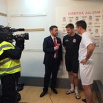PHOTO: The captains, Steven Gerrard and @Carra23, chat to @LFCTV ahead of todays #LFCAllStars game at Anfield http://t.co/8VEs4NFA62