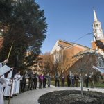 #PalmSunday procession outside at Christ Lutheran Church of York. Chilly morning, beautiful sun @ydrcom http://t.co/3UBLkDT26T
