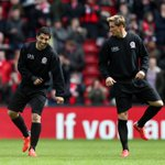 Strikers @LuisSuarez9 and @Torres in the pre-match warm up at Anfield #LFCAllStars http://t.co/C5taniYI6i