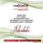Felicito con mucho gusto a Grupo Oro @ororadio por un aniversario más. #Oaxaca http://t.co/Wd62rBTxky