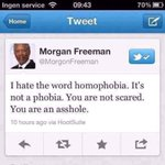Morgan Freeman thinks the word homophobia isnt strong enough. RT if you agree. #BoycottIndiana http://t.co/MPUwjYM3dT