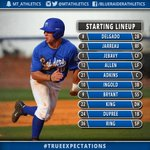30 minutes until first pitch, @MT_Baseball going for the sweep today! Heres your #TrueExpectations starting lineup: http://t.co/Cgz7fw0o3p
