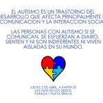 Día de la Concientización del Autismo. Jueves 2 de abril. A partir de las 16hs en Los Dedos. Punta del Este. #Uruguay http://t.co/5OcBCGA0Ap