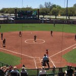 Baylors defensive alignment in an attempt to contain OSUs speedy Shelby Davis (.451 avg & 39sb) #SicEm http://t.co/fJ4InEm2U9