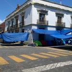 De @jlplatafoto: Por ser domingo asi luce el plantón en Pie de Lucha del magisterio en el centro de la ciudad #Oaxaca http://t.co/CnSnXIXmrq