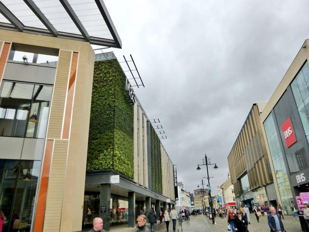 The new living wall at @marksandspencer in Newcastle looks pretty good. Must be one of the most prominent in the UK? http://t.co/Xdrl4EcrmP